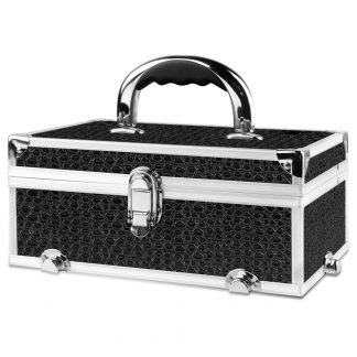 Embellir Portable Cosmetic Beauty Makeup Carry Case with Mirror - Crocodile Black