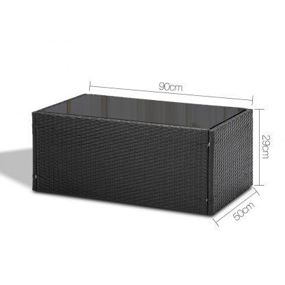 Gardeon 4 Piece Outdoor Wicker Furniture Set - Black