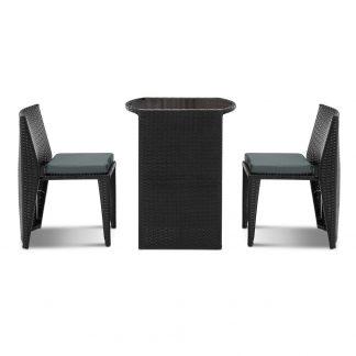 Gardeon 3 Piece PE Wicker Outdoor Table and Chair Set - Black