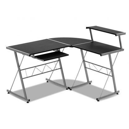 Artiss Corner Metal Pull Out Table Desk - Black