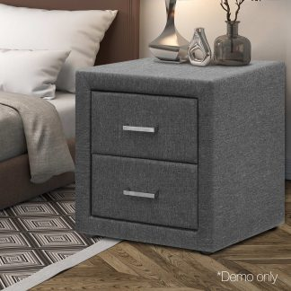 Artiss Fabric Bedside Table - Grey