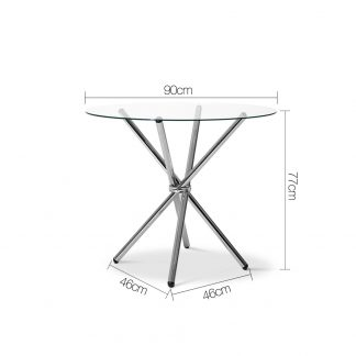 Artiss Round Dining Table with Tempered Glass - Silver