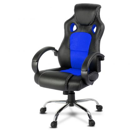 Racing Style PU Leather Office Desk Chair - Blue
