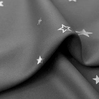 Art Queen 2 Star Blockout 240x213cm Blackout Curtains - Grey