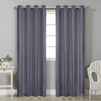 Art Queen 2 Panel 180 x 213cm Block Out Curtains - Grey