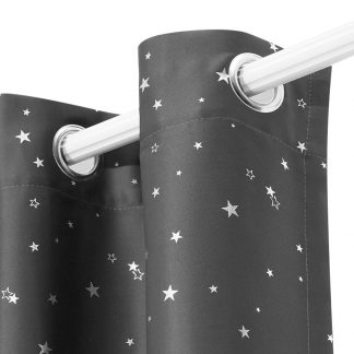 Art Queen 2 Star Blockout 180x180cm Blackout Curtains - Grey