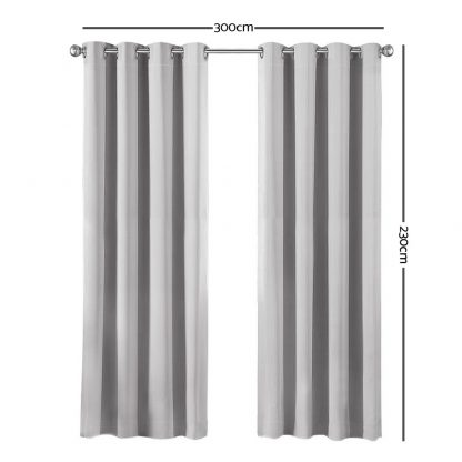 Art Queen 2 Panel 300 x 230cm Eyelet Block Out Curtains - Light Grey