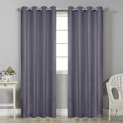 Art Queen 2 Panel 140 x 213cm Block Out Curtains - Grey