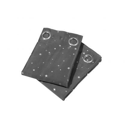 Art Queen 2 Star Blockout 180x213cm Blackout Curtains - Grey