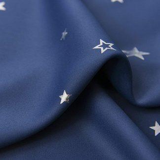 Art Queen 2 Star Blockout 180x213cm Blackout Curtains - Navy