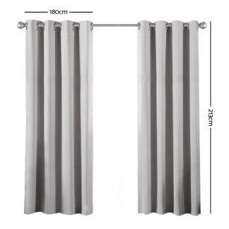 Art Queen 2 Panel 180 x 213cm Block Out Curtains - Light Grey