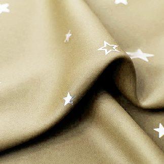 Art Queen 2 Star Blockout 180x180cm Blackout Curtains - Latte