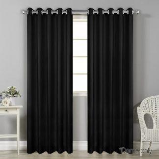Art Queen 2 Panel 240 x 213cm Block Out Curtains - Black