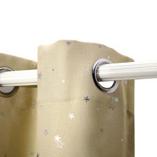 Art Queen 2 Star Blockout 300x230cm Blackout Curtains - Latte
