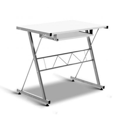Artiss Corner Metal Pull Out Table Desk - White