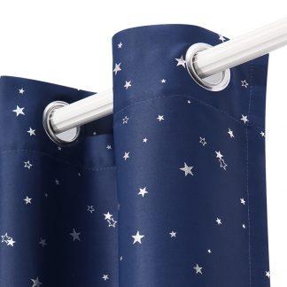 Art Queen 2 Star Blockout 140x213cm Blackout Curtains - Navy
