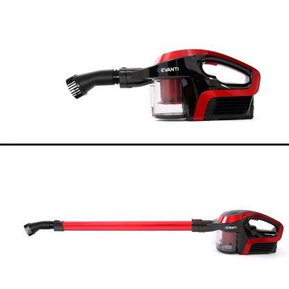 Devanti Cordless Stick Vacuum Cleaner - Black & Red