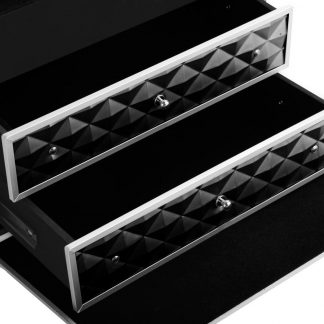 Embellir Portable Cosmetic Beauty Makeup Carry Case with Mirror - Diamond Black