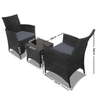 Gardeon 3pc Rattan Bistro Wicker Outdoor Furniture Set Black