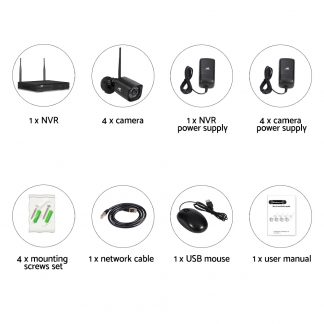 UL-TECH 1080P 4CH NVR Wireless 4 Security Cameras Set