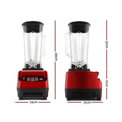 Devanti 2L Digital Commercial Blender LED Display Red