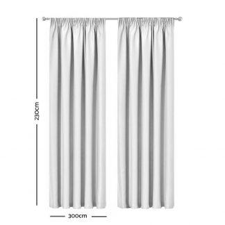 Artqueen 2X Pinch Pleat Pleated Blockout Curtains White 300cmx230cm