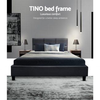 Artiss TINO Single Size Bed Frame Base Fabric Headboard Wooden Mattress