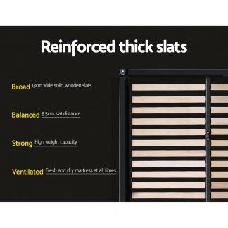Artiss Queen Size Bed Base Frame Mattress Platform Fabric Wooden Charcoal TOMI