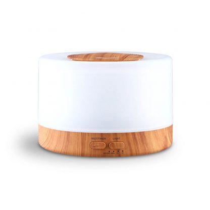 DEVANTI Aroma Diffuser Aromatherapy LED Night Light Air Humidifier Purifier Round Light Wood Grain 500ml Remote Control
