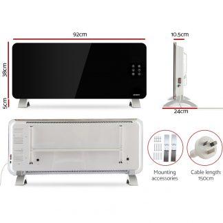 Devanti Electric Convection Glass Panel Heater Wall Mount Portable Heat WiFi Control 2000W Black