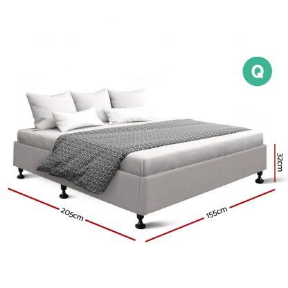 Artiss Queen Size Bed Base Frame Mattress Platform Fabric Wooden Beige TOMI