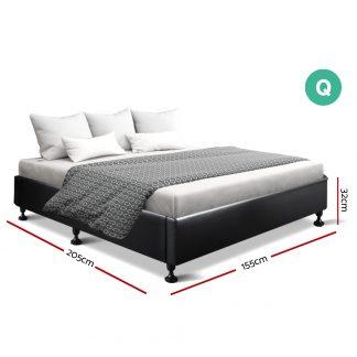 Artiss Queen Size Bed Base Frame Mattress Platform Leather Wooden Black TOMI