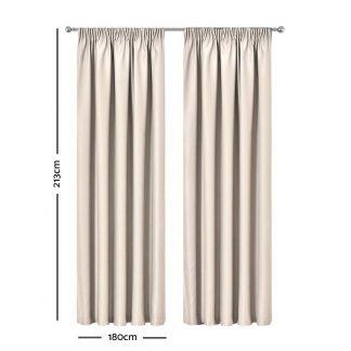 Artqueen 2X Pinch Pleat Pleated Blockout Curtains Sand 180cmx213cm
