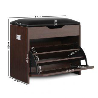 Artiss 12 Pairs Shoe Cabinet Organiser Wooden Storage Bench Stool