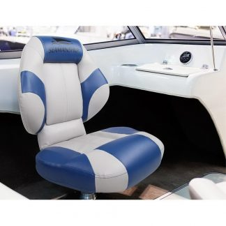 Seamanship Set of 2 Folding Swivel Boat Seats- Blue & Grey
