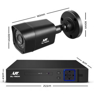 UL-TECH 8CH 5 IN 1 DVR CCTV Security System Video Recorder /w 4 Cameras 1080P HDMI Black