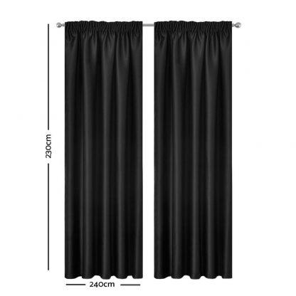 Artqueen 2X Pinch Pleat Pleated Blockout Curtains Black 240cmx230cm