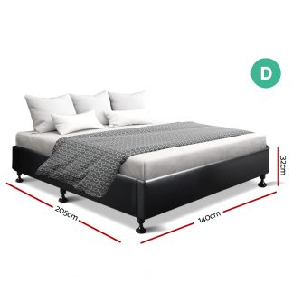 Artiss Double Full Size Bed Base Frame Mattress Platform Leather Wooden TOMI