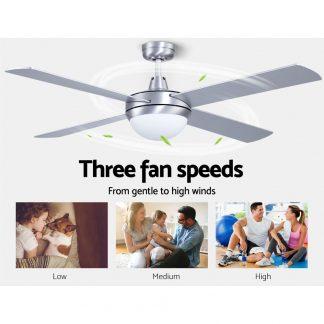 """Devanti 52"""" Ceiling Fan with Light Silver"""