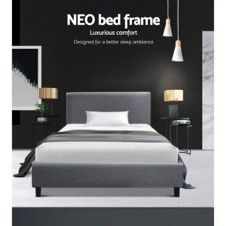 Artiss King Single Size Bed Frame Base Mattress Platform Fabric Wooden Grey NEO