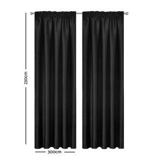 Artqueen 2X Pinch Pleat Pleated Blockout Curtains Black 300cmx230cm