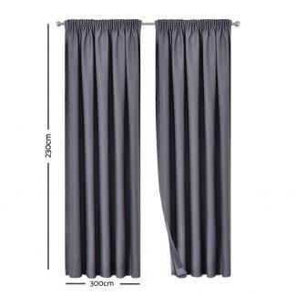 Artqueen 2X Pinch Pleat Pleated Blockout Curtains Dark Grey 300cmx230cm