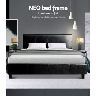 Artiss King Size Bed Frame Base Mattress Platform Leather Wooden Black NEO