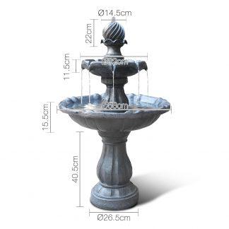Gardeon 3 Tier Solar Powered Water Fountain - Black