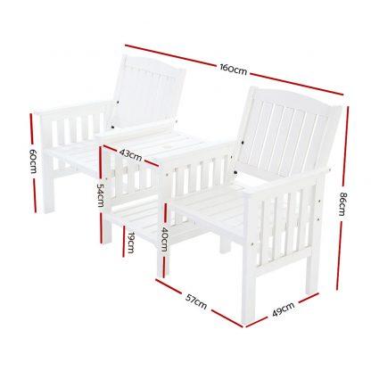 Gardeon Garden Bench Chair Table Loveseat Wooden Outdoor Furniture Patio Park White