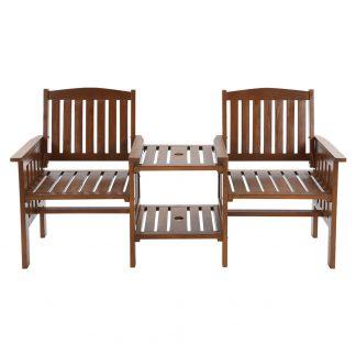 Gardeon Garden Bench Chair Table Loveseat Wooden Outdoor Furniture Patio Park Brown