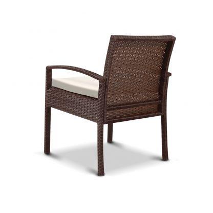Gardeon Outdoor Furniture Bistro Wicker Chair Brown