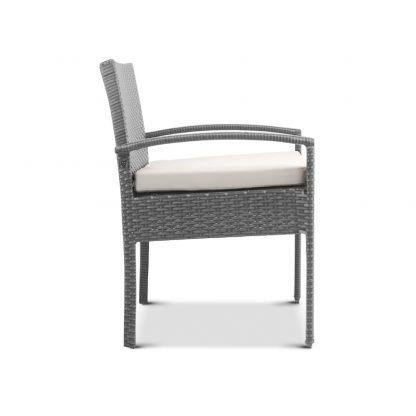 Gardeon Outdoor Furniture Bistro Wicker Chair Grey