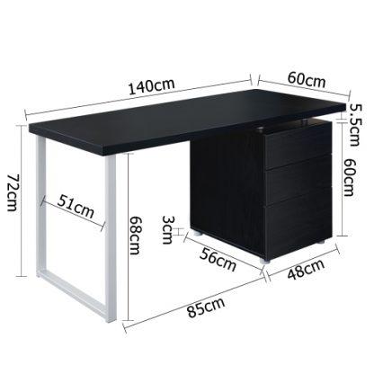 Artiss Metal Desk with 3 Drawers - Black