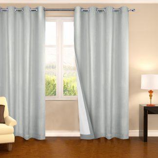 Art Queen 2 Panel 240 x 230cm Eyelet Blockout Curtains - Ecru